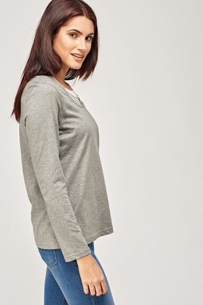 T-Shirt Insert Long Sleeve Top