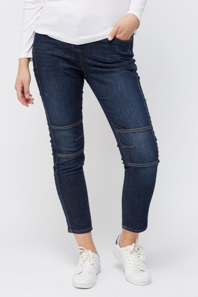 Washed Denim Blue Casual Jeans