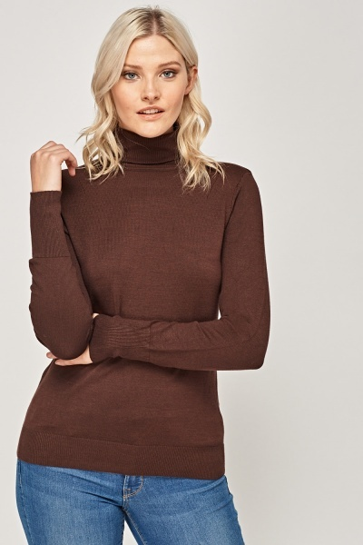 Basic Knitted Roll Neck Jumper