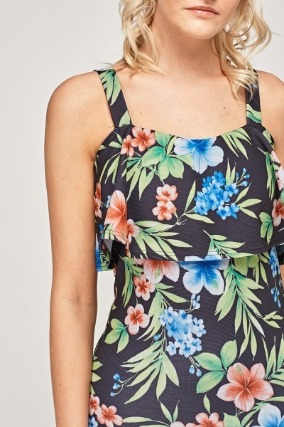 Flared Floral Printed Dress