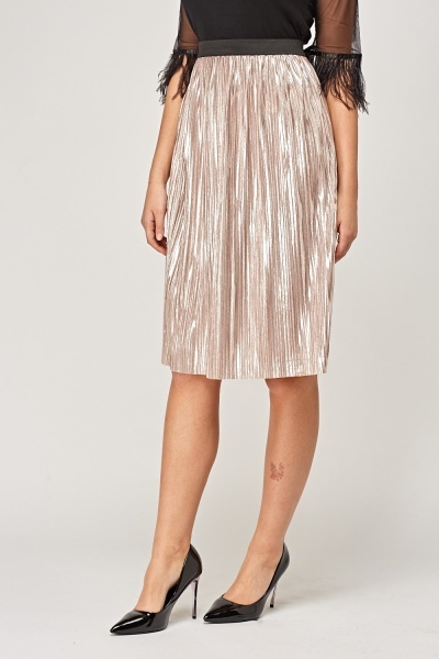 Pleated Metallic Skirt