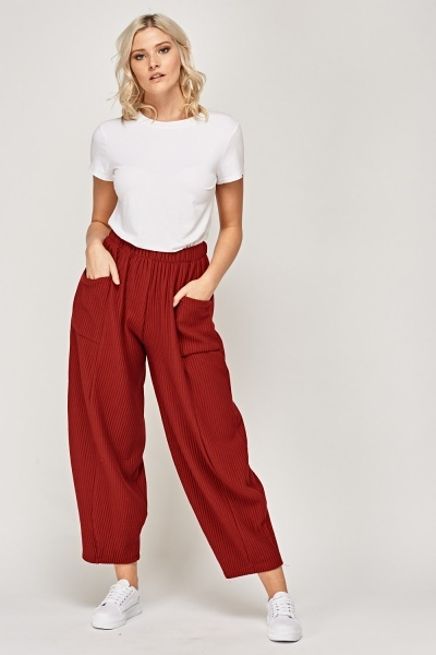 Ribbed Wide Leg Trousers