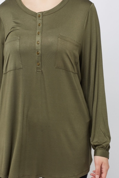 Button Up Neck Olive Top