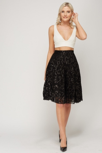 Sequin Mesh Midi Skirt