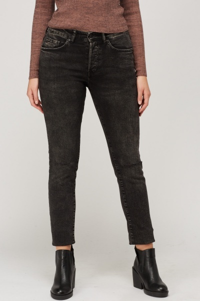 Washed Charcoal Ripped Knee Jeans