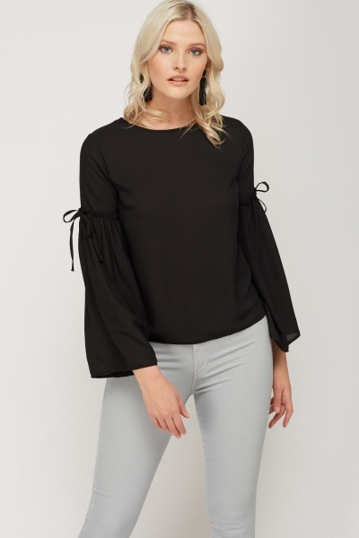 Wide Sleeve Sheer Top