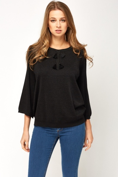 Metallic Contrast Trim Sweater