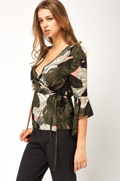 Mixed Print Wrap Top
