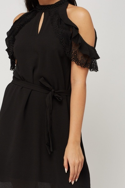 Beaded Neck Cold Shoulder Dress