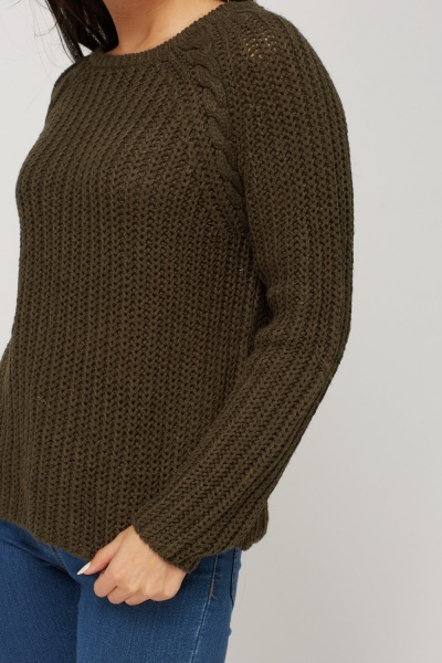 Cable Knit Detail Ribbed Knitted Jumper