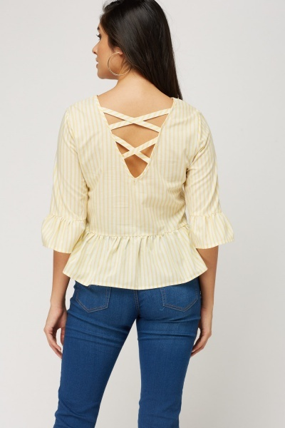 Criss Cross Back Striped Peplum Top