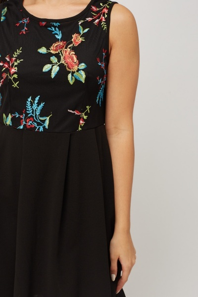 Embroidered Bodice Sleeveless Skater Dress