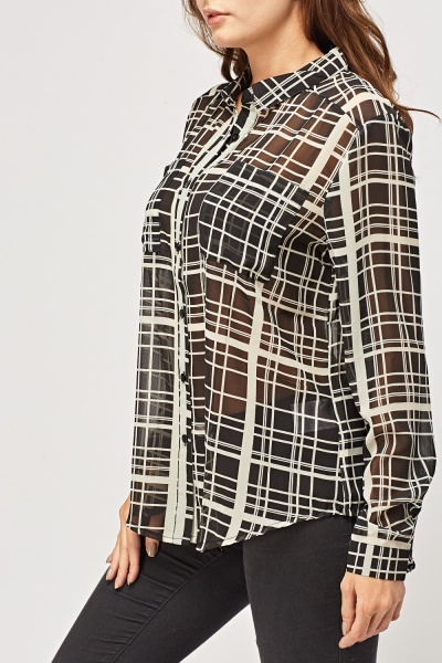 Checked Sheer Casual Blouse