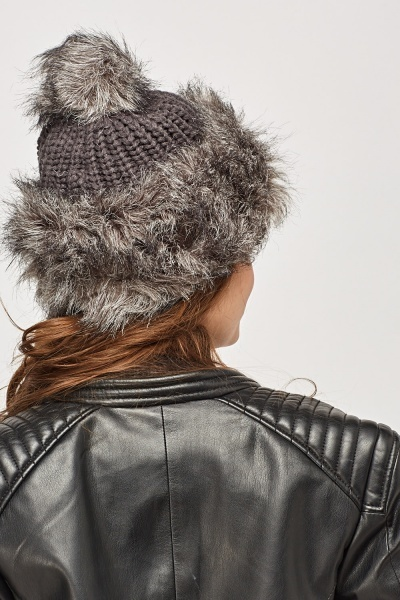 Faux Fur Knitted Beanie Hat