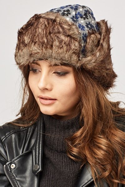 Faux Fur Knitted Floral Trapper Hat