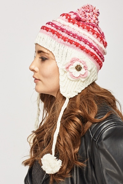 Knitted Pom Pom Trapper Hat