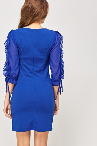 Tie Up Frilled Sleeve Dress