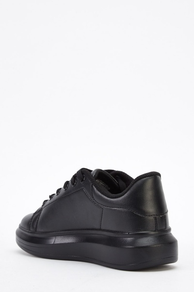 Faux Leather Flatformed Trainers
