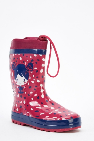 Printed Kids Welly Boots