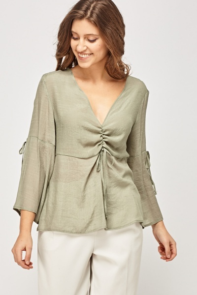Ruched Front Olive Top