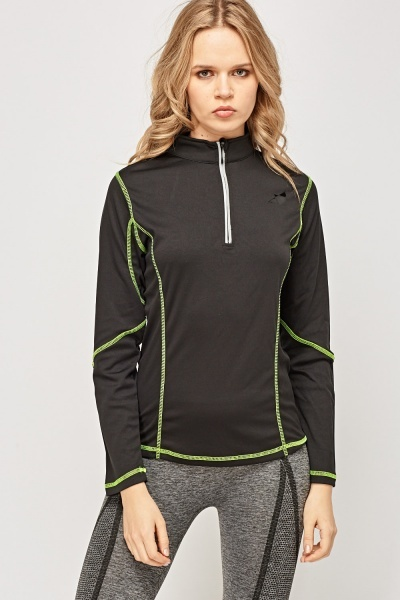 Contrast Stitched Sports Top
