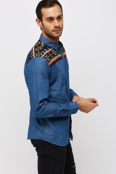 Embroidered Front Denim Shirt