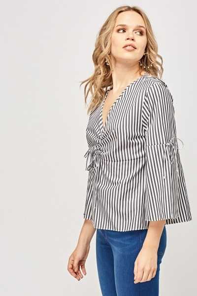 Ruched Front Striped Top