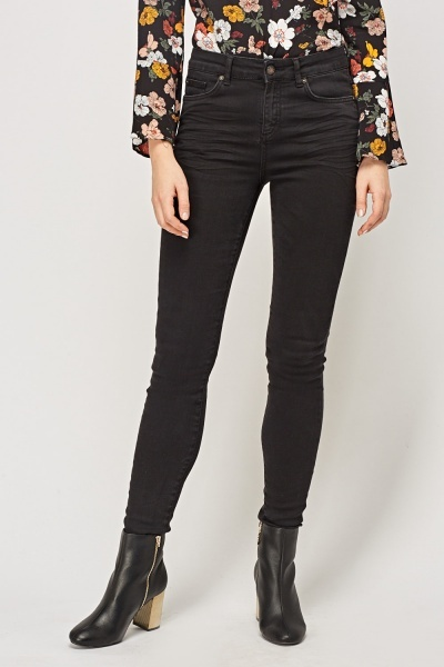 Skinny Fit Black Casual Jeans