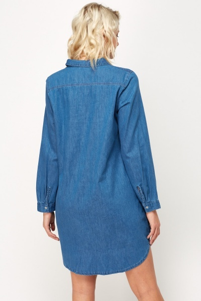 Button Neck Denim Blue Dress