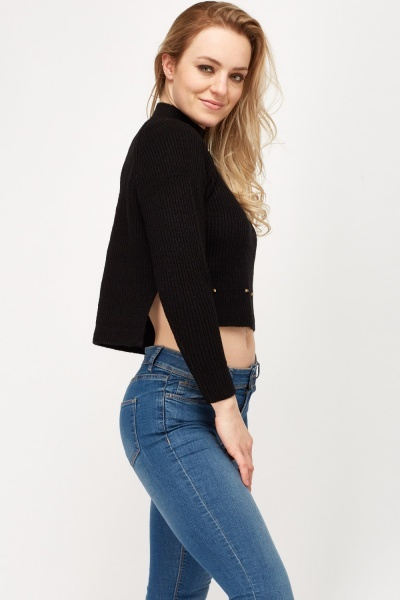 Studded Detailed Cropped Knitted Jumper