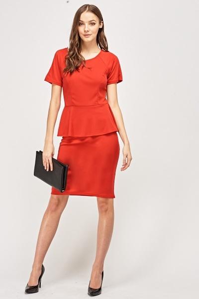 Peplum Waist Red Dress