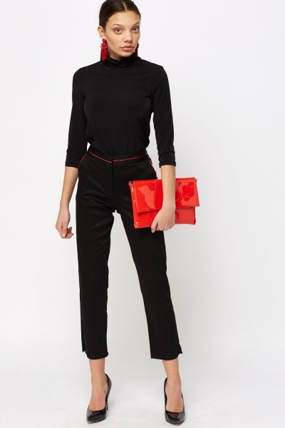 Contrast Trim Cigarette Trousers