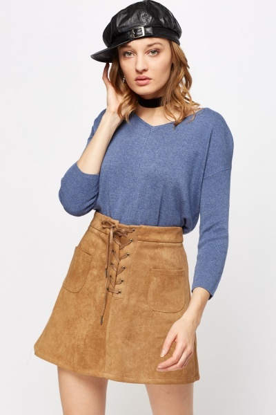 Cut Out Back Dip Hem Knitted Top