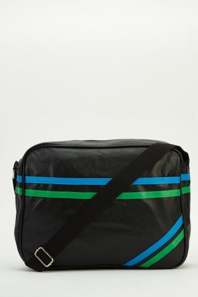 Contrast Twin Stripe Messenger Bag