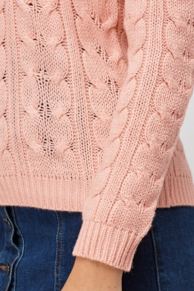 Cable Knit Light Pink Jumper