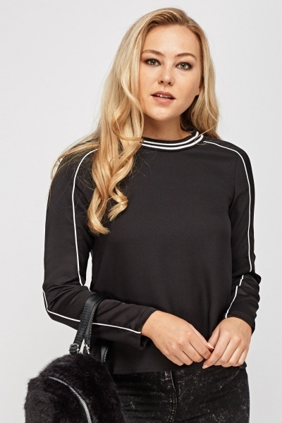 Contrast Trim Black Top