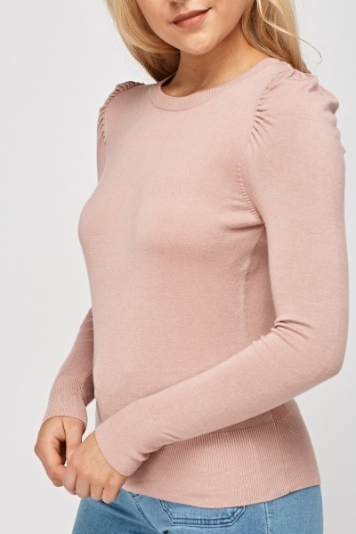 Ruched Sleeve Thin Knit Sweater