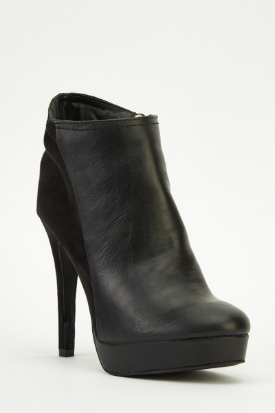 Contrast Black Heeled Boots