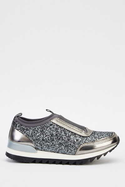 Glittered Contrast Slip On Trainers