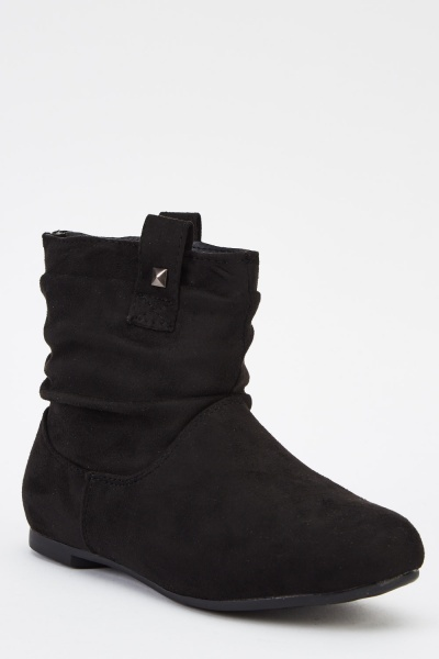 Suedette Ruched Ankle Boots