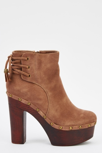Tie Up Back Contrast Block Heel Boots