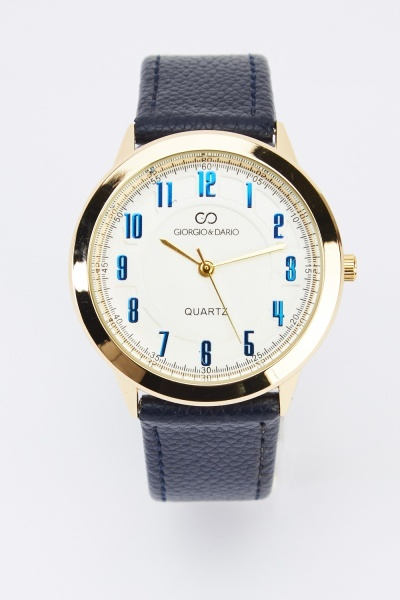 Faux Leather Analog Watch