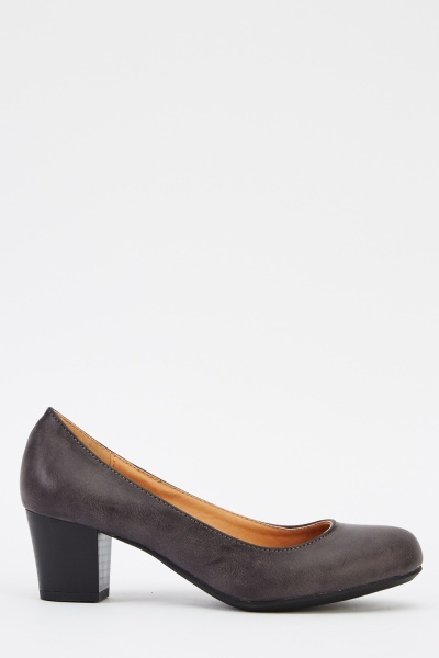 Faux Leather Heeled Pump Shoes