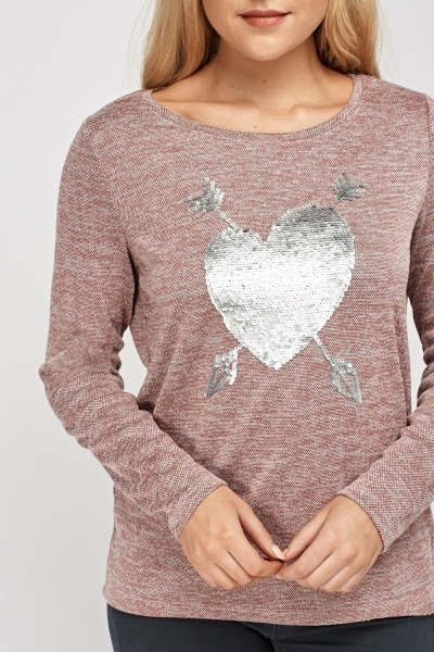 Sequin Heart Speckled Top