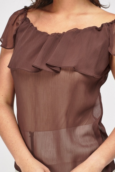 Sheer Dark Brown Top