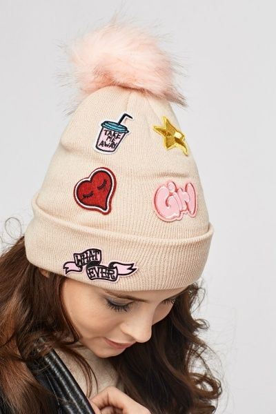 Applique Knitted Beanie Hat