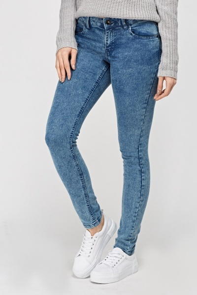 Washed Out Skinny Leg Jeans