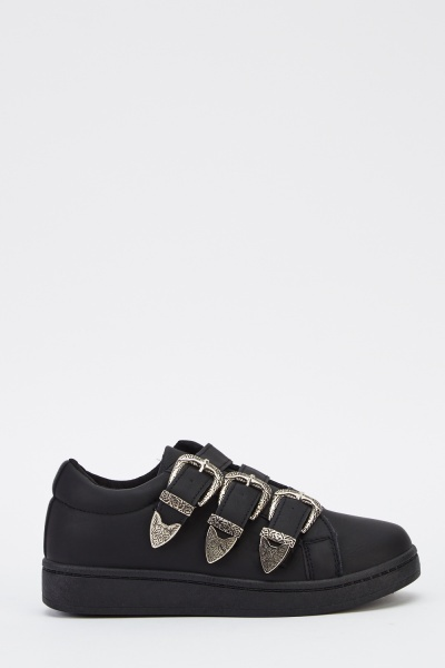 Buckled Black Flatform Shoes