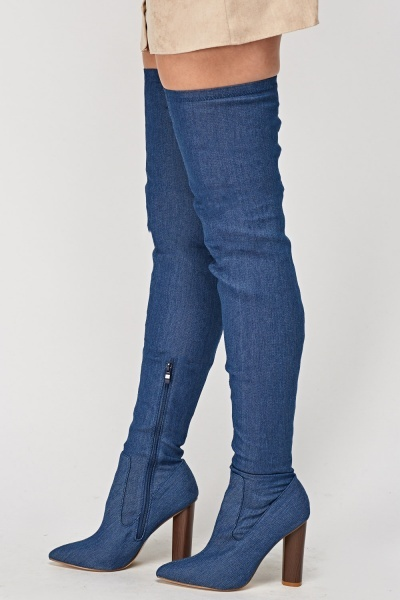 Over The Knee Denim Heeled Boots