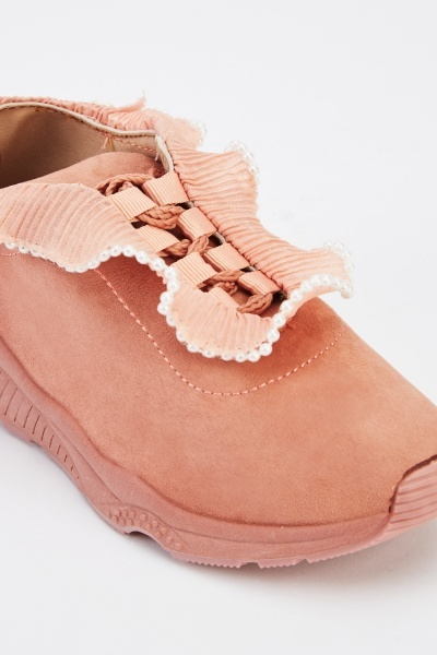 Pleated Faux Pearl Trim Trainers